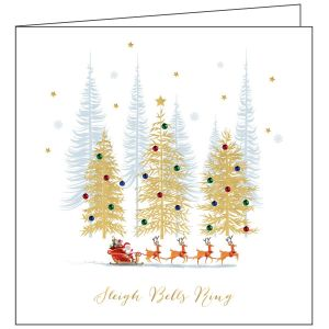 Collisons Santa Sleigh Foil Luxury Christmas Cards - Pack of 10