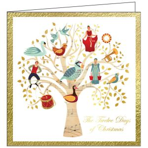 Collisons The Twelve Days of Christmas Luxury Foil Christmas Cards - Pack of 10