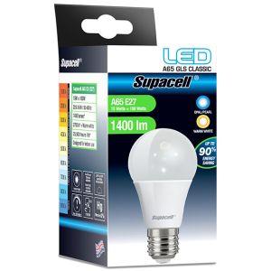 Supacell A65 E27 ES 15 Watt LED GLS Light Bulb, Warm White