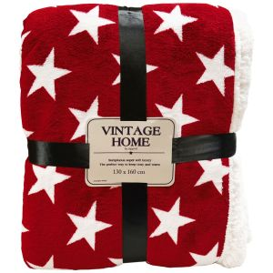 Rapport Stars Sherpa Throw, 130 x 160 cm - Red