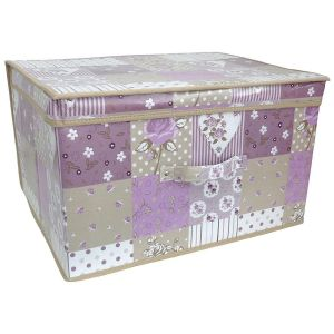 Country Club Children's Purple Patchwork Design Large Collapsible Storage Box, Multi