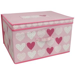 Country Club Children's Blush Hearts Large Collapsible Storage Box, Pink