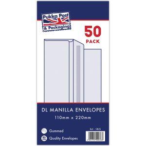 Concord Gummed Manilla DL Envelopes - Pack of 50