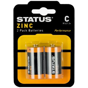 Status Zinc C Size Batteries - Pack of 2