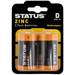 Status Zinc D Size Batteries - Pack of 2