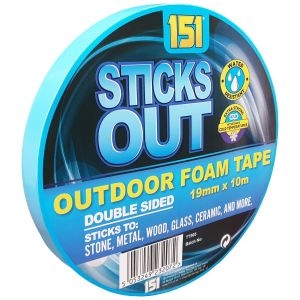 151 Sticks Out Outdoor Blue Mounting Tape, 19mm x 10m