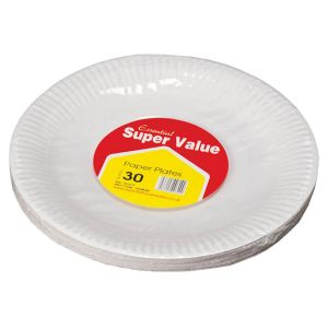Essential 23cm Round Biodegradable Paper Party Plates, White - Pack of 30