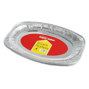 Essential 28cm Small Foil Party Snack Platters - Pack of 4