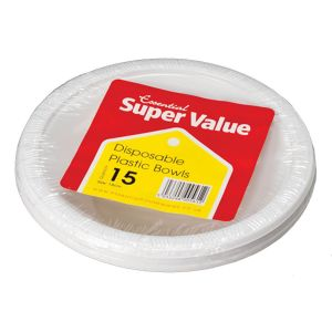 Essential 18cm Round Disposable Plastic Party Bowls, White - Pack of 15