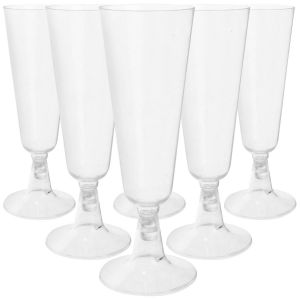 Essential 17.5cl Plastic Party Champagne Flutes, Clear - Pack of 6