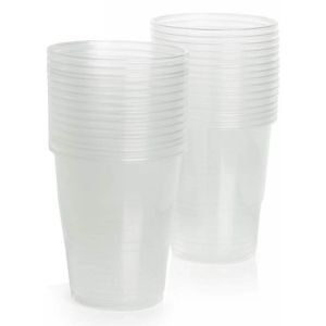 Essential 25cl Disposable Plastic Party Juice Tumbler Cups, Clear - Pack of 25