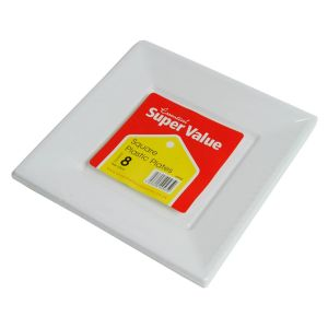 Essential 23cm Square Plastic Party Plates, White - Pack of 8