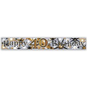 Simon Elvin Happy 40th Birthday Large Foil Party Banner - Male