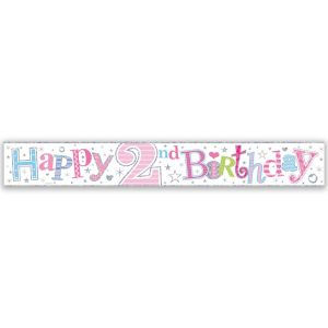 Simon Elvin Happy 2nd Birthday Large Foil Party Banner - Girls