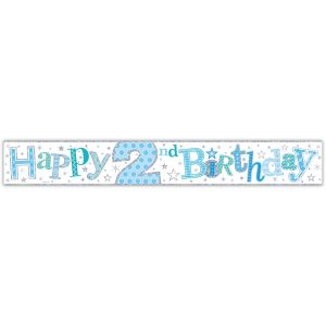 Simon Elvin Happy 2nd Birthday Large Foil Party Banner - Boys