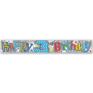 Simon Elvin Happy 3rd Birthday Large Foil Party Banner - Boys