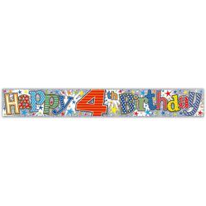 Simon Elvin Happy 4th Birthday Large Foil Party Banner - Boys
