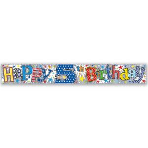 Simon Elvin Happy 5th Birthday Large Foil Party Banner - Boys