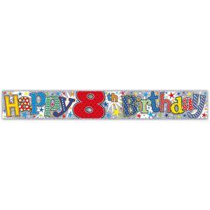 Simon Elvin Happy 8th Birthday Large Foil Party Banner - Boys