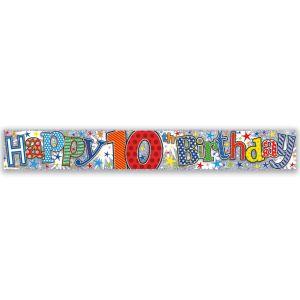 Simon Elvin Happy 10th Birthday Large Foil Party Banner - Boys