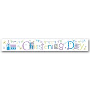 Simon Elvin Christening Day Large Foil Party Banner - Boys