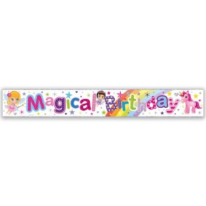 Simon Elvin Magical Birthday Large Foil Party Banner - Girls