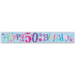 Simon Elvin Happy 50th Birthday Large Foil Party Banner - Female