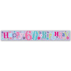 Simon Elvin Happy 60th Birthday Large Foil Party Banner - Female