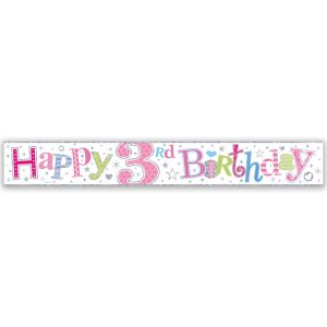 Simon Elvin Happy 3rd Birthday Large Foil Party Banner - Girls