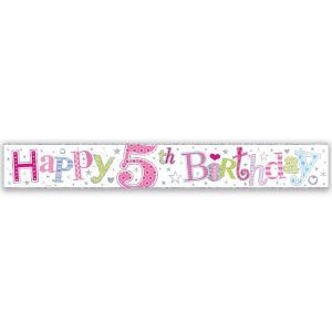 Simon Elvin Happy 5th Birthday Large Foil Party Banner - Girls