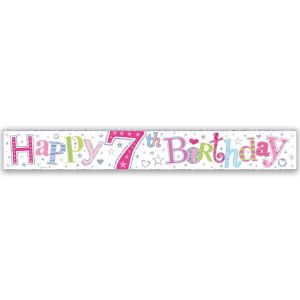 Simon Elvin Happy 7th Birthday Large Foil Party Banner - Girls