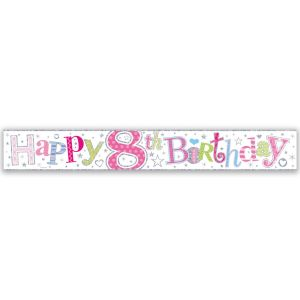 Simon Elvin Happy 8th Birthday Large Foil Party Banner - Girls