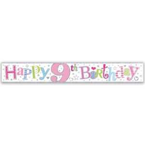 Simon Elvin Happy 9th Birthday Large Foil Party Banner - Girls