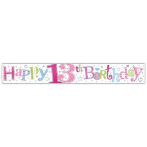Simon Elvin Happy 13th Birthday Large Foil Party Banner - Girls