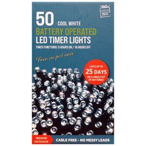 Festive Magic Battery Operated 50 LED Multi Function Timer Lights - Cool White
