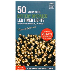 Festive Magic Battery Operated 50 LED Multi Function Timer Lights - Warm White