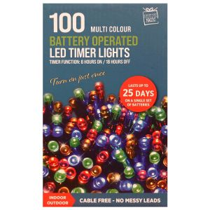 Festive Magic Battery Operated 100 LED Multi Function Timer Lights - Multi-Coloured