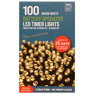 Festive Magic Battery Operated 100 LED Multi Function Timer Lights - Warm White