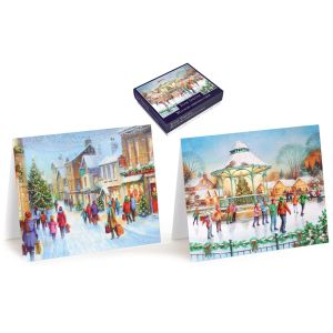 Tom Smith Luxury Boxed Christmas Village Scene Christmas Cards - Pack of 20