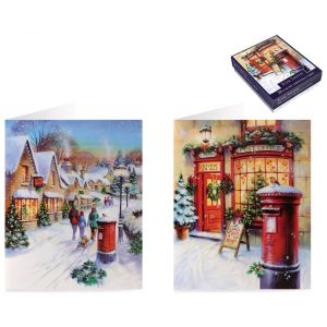 Tom Smith Luxury Boxed Red Postbox Christmas Cards - Pack of 20