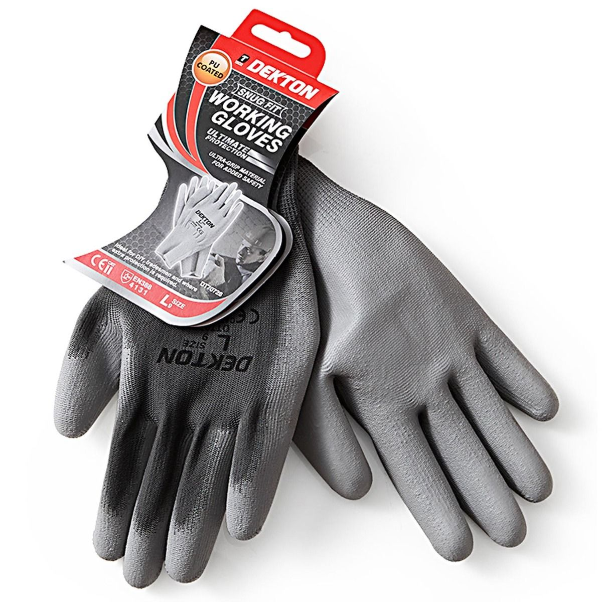 2 PAIRS  DEKTON GREY Working Gloves Snug Fit PU Coated Ultra-grip Size XL UK